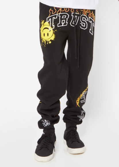black trust yourself flame graphic joggers - Main Image