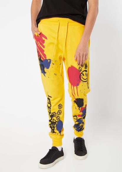 yellow graffiti splatter print graphic joggers - Main Image