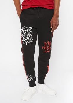 black graffiti rebel life side striped joggers - Main Image