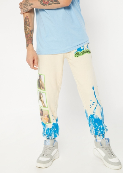 sand beige poetic justice graphic joggers - Main Image
