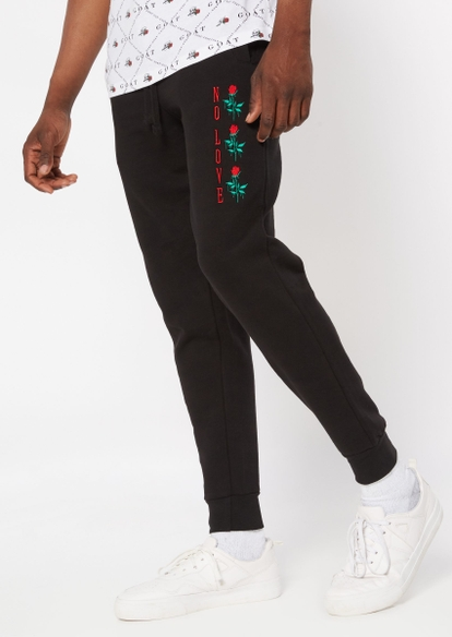 black no love rose embroidered joggers - Main Image