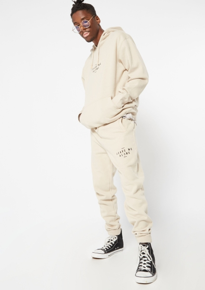 neutral leave me alone embroidered joggers - Main Image