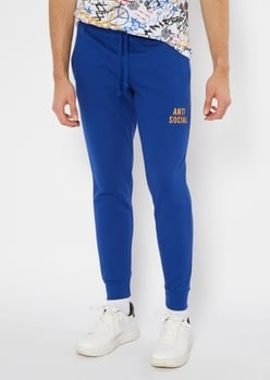 blue antisocial embroidered skinny joggers - Main Image
