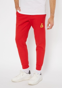 red money bag embroidered skinny joggers - Main Image
