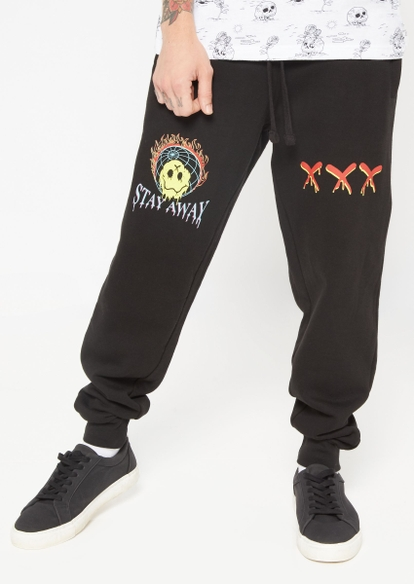 black stay away drippy smiley face graphic joggers - Main Image