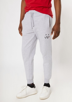 heather gray snake smiley embroidered joggers - Main Image