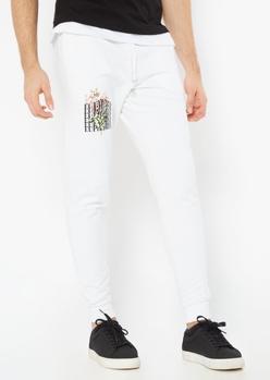 white euphoria print joggers - Main Image