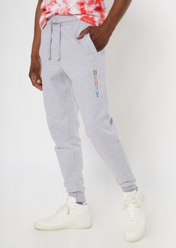 heather gray luxury embroidered jogger - Main Image