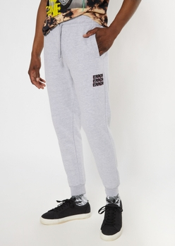 heather gray error embroidered joggers - Main Image