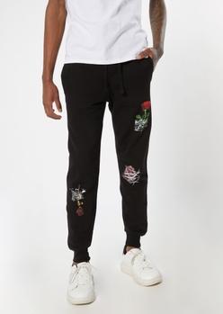 black rose script joggers - Main Image