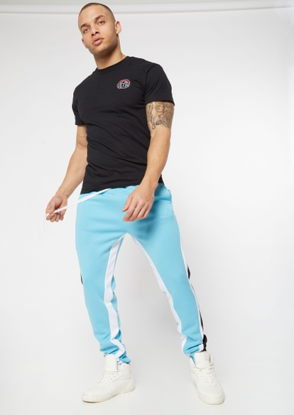 blue side striped colorblock tricot track pants - Main Image