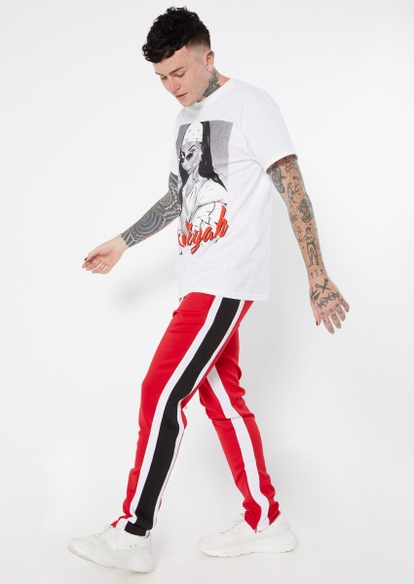 red multicolor stripe track pants - Main Image