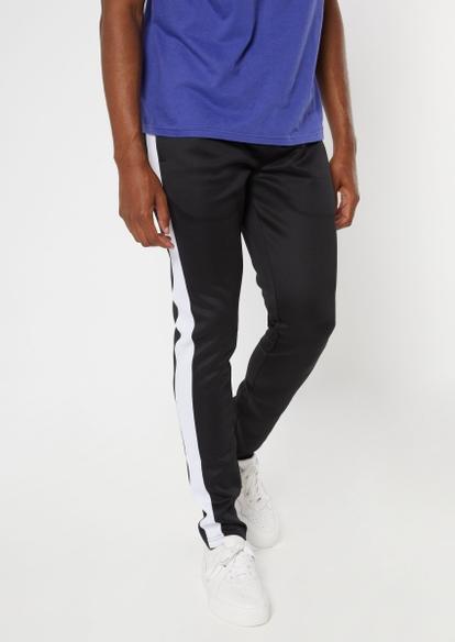 black side striped drawstring track pants - Main Image