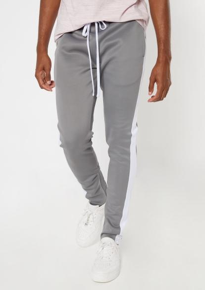 gray side striped drawstring track pants - Main Image
