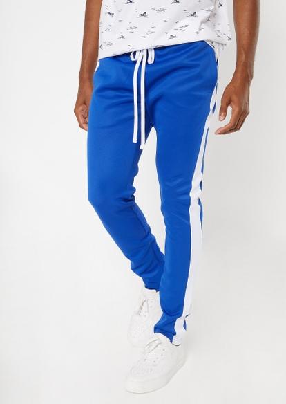 royal blue side striped drawstring track pants - Main Image
