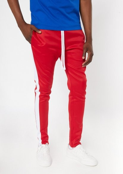 red side striped drawstring track pants - Main Image