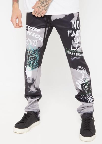 black gray two tone contrast heart breaker track pants - Main Image