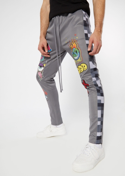 gray doodle patch track pants - Main Image