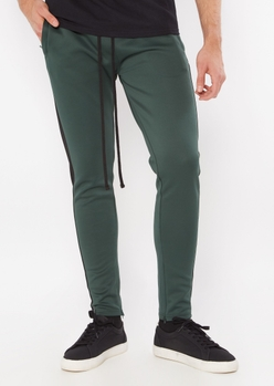 hunter green side striped drawstring track pants - Main Image