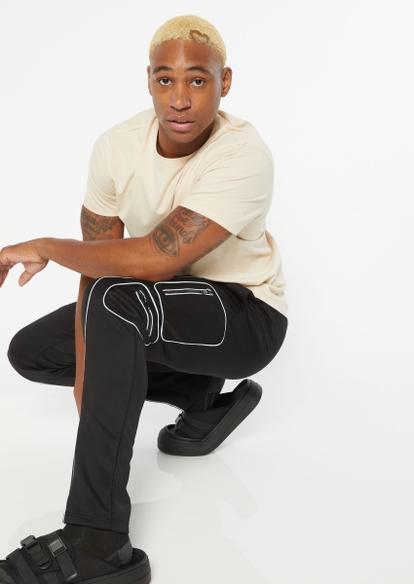 black reflective piping track pants - Main Image