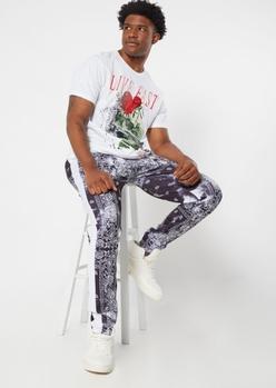 black bandana print tricot track pants - Main Image