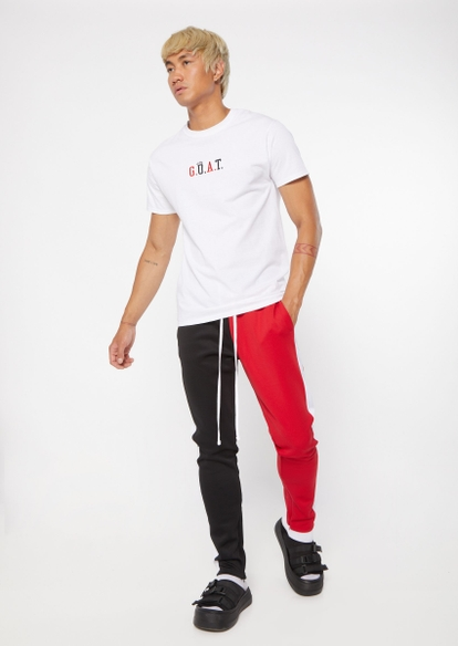 black and red two tone colorblock track pants - Main Image