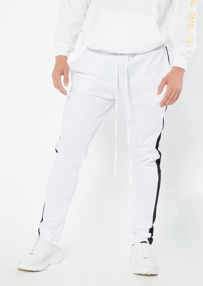 white side stripe track pants - Main Image