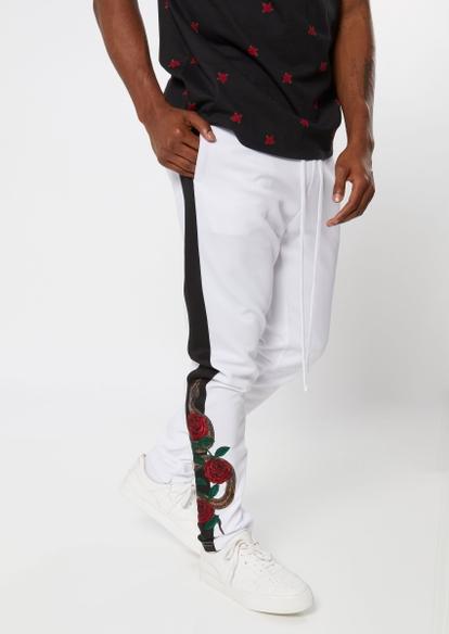 black snake rose embroidered side striped track pants - Main Image