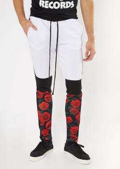 white colorblock rose print track pants - Main Image