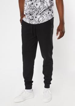 black zipper pocket athletic joggers - Main Image