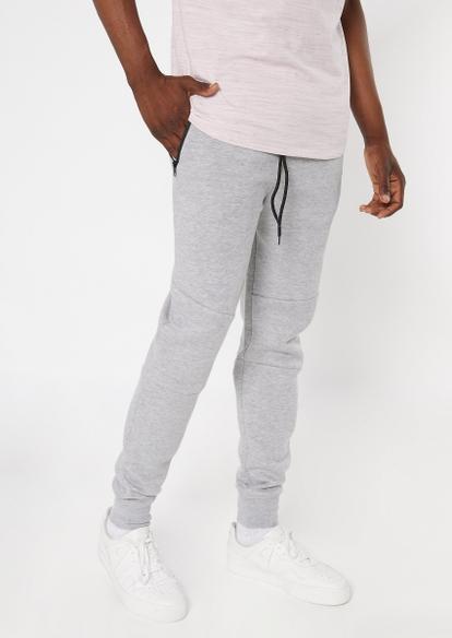 heather gray zipper pocket athletic joggers - Main Image