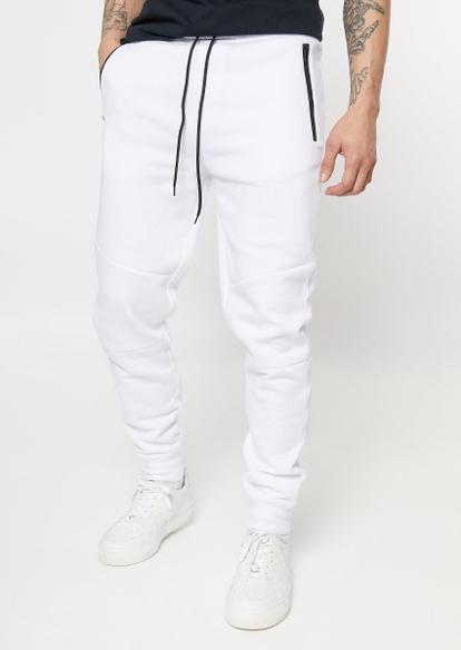white zipper pocket athletic joggers - Main Image