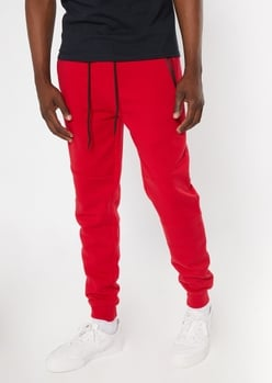 red zipper pocket athletic joggers - Main Image