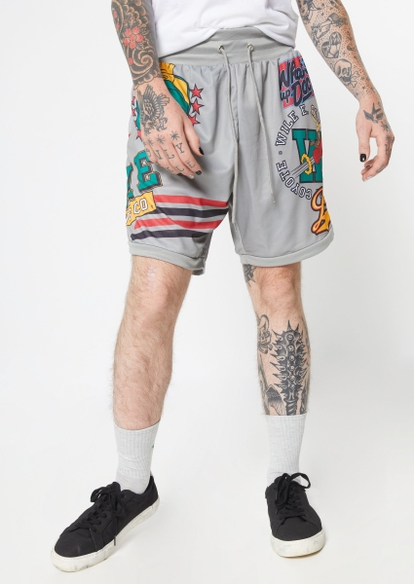 gray looney toons licensed graphic basketball shorts - Main Image