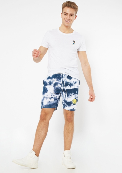 navy tie dye nice day knit shorts - Main Image