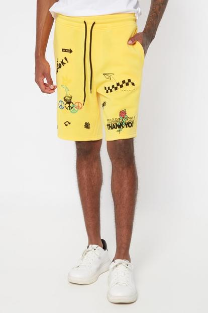 yellow doodle graphic sweat shorts - Main Image