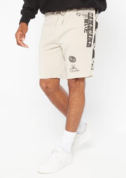 taupe xerox skulls jogger sweat shorts - Main Image