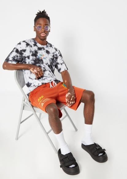 orange proceed with caution jogger sweat shorts - Main Image