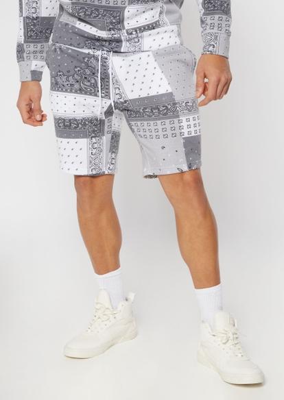 gray bandana print knit shorts - Main Image