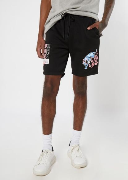 black worldwide icon graphic sweat shorts - Main Image
