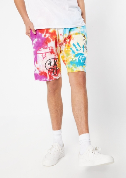 rainbow tie dye knit graphic jogger shorts - Main Image