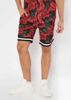 red rose print jersey shorts - Main Image