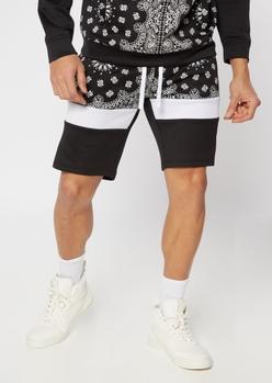 black bandana print track shorts - Main Image
