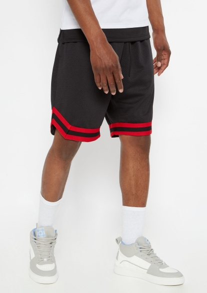 black striped trim mesh basketball shorts - Main Image
