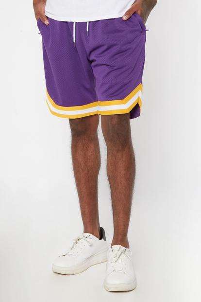 purple striped trim mesh basketball shorts - Main Image