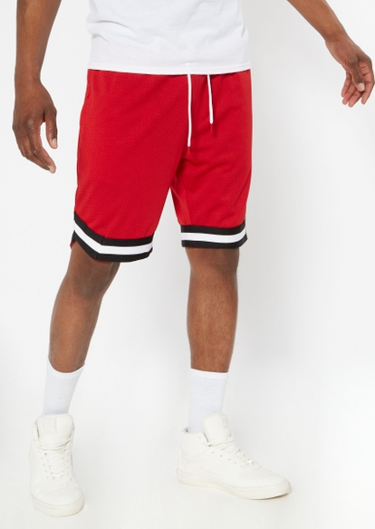 red striped trim mesh basketball shorts - Main Image