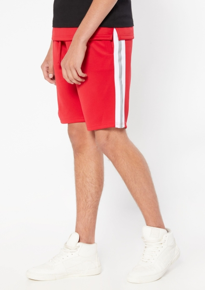 red reflective side striped track shorts - Main Image