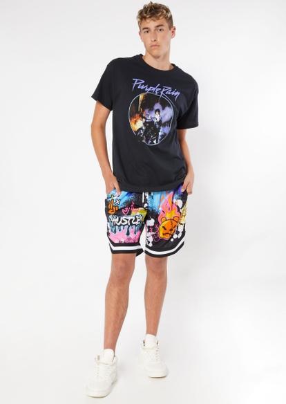 black graffiti hustle graphic basketball shorts - Main Image
