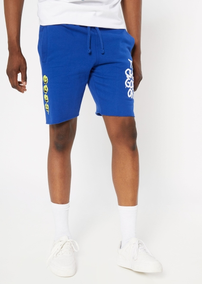 blue the show goes on graphic fleece shorts - Main Image