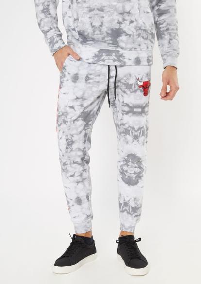 nba chicago bulls  gray tie dye graphic joggers - Main Image